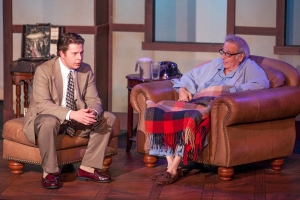 "Aaron Orion Baker as Mitch and Bobby Miller as Morrie in ""Tuesdays With Morrie"" at Dramatic License. Photo: John Lamb"
