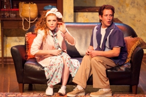 """Betsy Bowman as Emma and James Slover as Tom in """"Pterodactyls"""" at St. Louis Actor's Studio. Photo: John Lamb"""