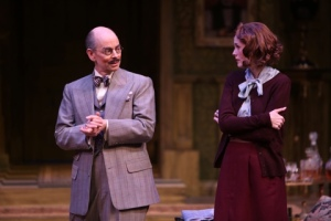 "Larry Paulsen as Mr. Paravicini discusses matters with Ellen Adair in the Rep's ""The Mousetrap."" Photo provided by the Repertory Theatre of St. Louis"