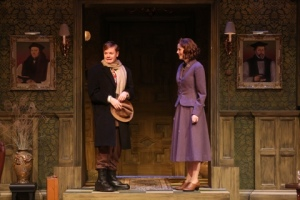 Sean Mellott as Christopher Wren arrives at Monkswell Manor and is greeted by Ellen Adair as Mollie. Photo provided by the Repertory Theatre of St. Louis