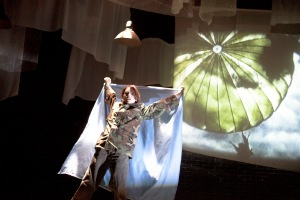 Hannah Senesh (Shanara Gabrielle) as she parachutes into Yugoslavia in the NJT production. Photo: John Lamb