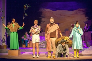 A fur-barked tree, a Butterfingers Angel, Joseph, his donkey and Mary are among the cast of characters in this wacky Christmas story at Stray Dog Theatre. Photo: John Lamb