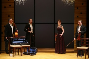 """Backstage at the White House for the Lazara Quartet in """"Opus."""" Photo: Jerry Naunheim, Jr."""