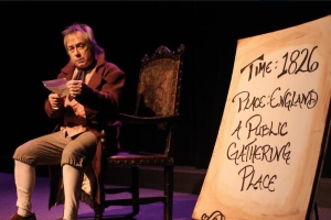 "Joe Hanrahan as William-Henry Ireland in ""Solemn Mockeries."""