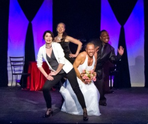 """Taylor Pietz, Sabra Sellers, Jeffrey Pruett and Jeremy Sims bring us the """"Mama Mia!"""" wedding scene at """"A Valentine Cabaret at Dramatic License. Photo: Gerry Love"""