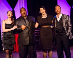 """Sabra Sellers, Jeremy Sims, Taylor Pietz and Jeffrey Pruett belt out a number at DLP's """"A Valentine Cabaret."""" Photo: Gerry Love"""