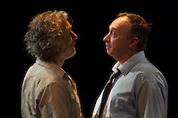 "Jerry Vogel and Terry Meddows confront each other in ""Forget Me Not"" at Upstream Theatre. Photo: Peter Wochniak"