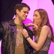 """Paul Cereghino as Alex and Paige Hackworth as Ellen in Stray Dog's """"The Little Dog Laughed."""" Photo: John Lamb"""