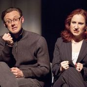 "Bradley J. Behrmann and Sarajane Alverson in an hilarious ""imaginary"" meeting with a playwright in Stray Dog's ""The Little Dog Laughed."" Photo: John Lamb"