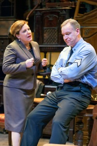 "Kelley Weber as Esther pleads with Michael James Reed as Victor in ""The Price"" at New Jewish Theatre. Photo: John Lamb"