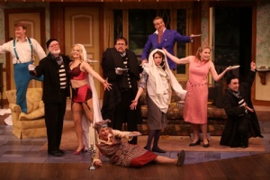 "The entire cast of ""Noises Off"" pose for the finale at the Repertory Theatre of St. Louis. Photo: Jerry Naunheim, Jr."