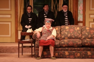 "Dale Hodges sits frustrated on the sofa while the trio of Kevin Sebastian, Fletcher McTaggart and Joneal Joplin bring us yet another great sight gag in the Rep's ""Noises Off."" Photo: Jerry Naunheim, Jr."
