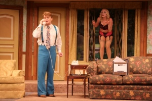 "John Scherer and Ruth Pferdehirt as Garry and Brooke in ""Noises Off"" at the Repertory Theatre of St. Louis. Photo: Jerry Naunheim, Jr."