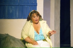 Shirley Valentine arrives in Greece in the DLP production starring Teresa Doggett. Photo: John Lamb