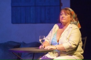 Teresa Doggett as Shirley Valentine at DLP contemplates her future over a glass of wine. Photo: John Lamb