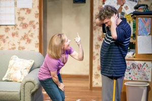 "Michelle Hand as Tami tries to appease Daniel Lanier's Josh at Mustard Seed' production of ""Falling."" Photo: John Lamb"