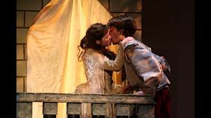 "Emily Jackoway and Leo Ramsey during the balcony scene of ""Romeo And Juliet"" at St. Louis Shakespeare. Photo: Brian Peters"