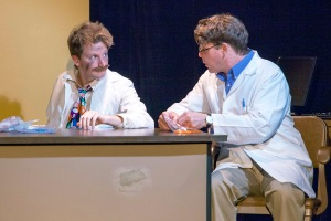 "John Lampe and Jeff Kargus in ""Rx"" at West End Players Guild. Photo: John Lamb"