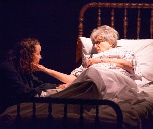 "Laura Singleton consoles Suzanne Greenwald in ""Rx"" at West End Players Guild. Photo: John Lamb"
