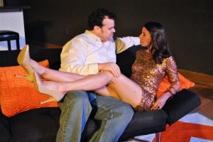 "Jared Sanz-Agero gets cozy with Ellie Schwetye in SATE's ""Bachelorette."" Photo: Joey Rumpell"