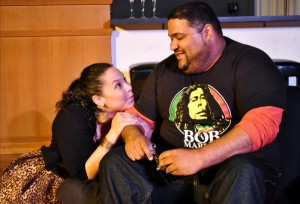 "Wendy Renee Greenwood and Carl Overly, Jr. share a rare quiet moment in SATE's production of ""Bachelorette."" Photo: Joey Rumpell"