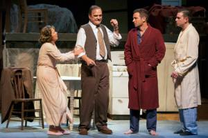 "Susie Wall, John Contini, Matthew Linhardt and Jason Contini in ""Death Of A Salesman"" at Insight Theatre Company. Photo: John Lamb"