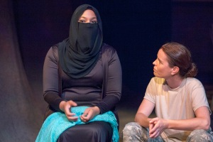 "Wendy Greenwood and Melissa Gerth in Mustard Seed's ""Human Terrain."""