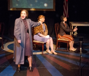 "Rachel Hanks shines in ""First Lady Suite"" at R-S Theatrics as she sings of her life with Eleanor Roosevelt (Kay Love) as they fly with Amelia Earhart (Belinda Quimby). Photo: Michael Young"