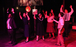 "Clyde Barrow goes on a robbing spree in ""Bonnie & Clyde"" at New Line Theatre. Photo: Jill Ritter Lindberg"