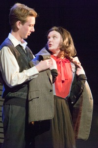 "Leo B. Ramsey as Peter and Samantha Moyer as Anne share a moment in ""The Diary Of Anne Frank"" at New Jewish Theatre. Photo: John Lamb"