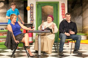 """Pamela Reckamp, Nathan Bush, Donna Weinsting and Jared Sanz-Agero cautiously feel each other out in """"Chancers"""" at Max & Louie."""