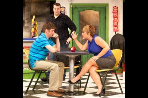 "Nathan Bush and Pamela Reckamp settle a disagreement as Jared Sanz-Agero looks on in ""Chancers"" at Max & Louie."