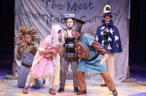 "Michael Jean Dozier, Carl Howell, Kern McFadden, Michael James Reed and Adam Lendermon as the ""performing"" mechanicals in ""A Midsummer Night's Dream"" at the Rep. Photo: Jerry Naunheim Jr."