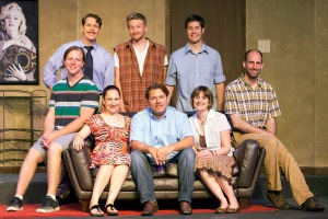 """The company of Stephen Peirick's """"Four Sugars"""" at Stray Dog."""