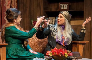 "Andra Harkins as Mrs. Bradman and Nancy Lewis as Madame Arcati in ""Blithe Spirit"" at St. Louis Actors' Studio. Photo: John Lamb"