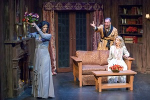 "Nancy Bell as Elvira proves her presence to Michael James Reed as Charles and Lee Anne Mathews as Ruth in STLAS' ""Blithe Spirit."" Photo: John Lamb"
