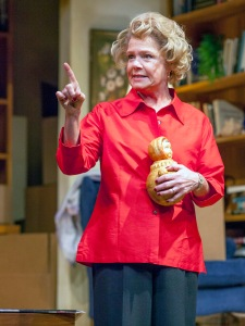 "Susie Wall as Dr. Ruth holds a pivotal object to her survival in NJT's ""Becoming Dr. Ruth."" Photo: John Lamb"