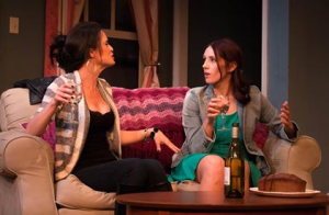 """Julie Layton and Maggie Conroy discuss their experiences in """"Reality"""" at HotCity Theatre. Photo: Kyra Bishop"""