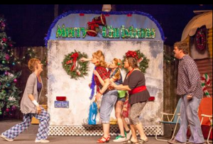 "Paula Stoff Dean rants to Kay Love, Jessica Tilgham and Laura Kyro while Kevin O'Brien looks on in ""The Great American Trailer Park Christmas Musical"" at Stray Dog Theatre. Photo: John Lamb"