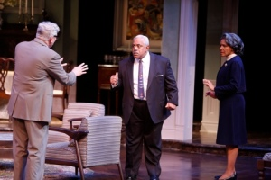 "Anderson Matthews as Matt tries to calm Leo Finnie and Perri Gaffney as John's father and mother during ""Guess Who's Coming To Dinner"" at the Rep. Photo: Jerry Naunheim, Jr."
