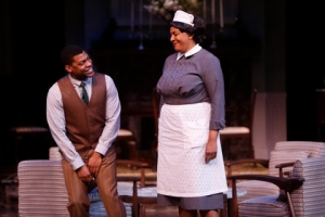 "Inga Ballard as Tillie warns Richard Prioleau as John that she's watching him as the Rep presents ""Guess Who's Coming To Dinner."" Photo: Jerry Naunheim, Jr."