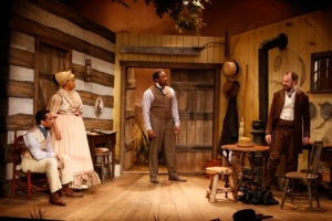 """Will Cobbs, Kelly Taffe, Daniel Morgan Shelley and Michael Sean McGuinness in """"Safe House"""" at the Rep Studio. Photo: Jerry Naunheim, Jr."""