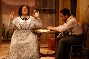 """Kelly Taffe as Dorcas tries to communicate with Will Cobbs as Frank in """"Safe House"""" at the Rep Studio. Photo: Jerry Naunheim, Jr."""