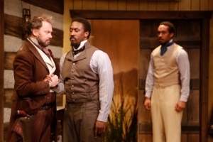 Michael Sean McGuinness as Bracken is confronted by Daniel Morgan Shelley as Addison as Will Cobbs, as Frank, looks on. Photo: Jerry Naunheim, Jr.