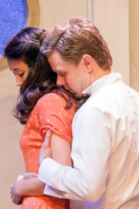 "Ben Nordstrom as Peter tries to console Fox Smith as Sumiko in Mustard Seed's ""White To Gray."" Photo: John Lamb"