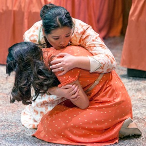 "Mom (Paige Russell) tries to comfort her daughter (Fox Smith) during Mustard Seed's production of ""White To Gray."" Photo: John Lamb"