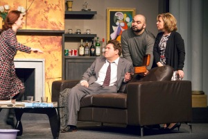 "Sarajane Alverson makes demands as Stephen Peirick, Michael Juncal and Michelle Hand listen in ""God Of Carnage"" at Stray Dog Theatre. Photo: John Lamb"