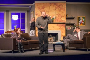 "Michael Juncal makes a point while Sarajane Alverson, Michelle Hand and Stephen Peirick can only express boredom in Stray Dog's ""God Of Carnage."" Photo: John Lamb"