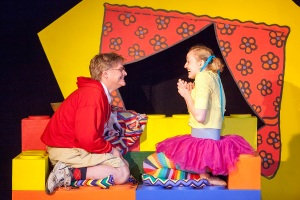 """Greg Matzker as Larry and Kimberly Byrnes as Lucy in """"Mr. Marmalade"""" at WEPG. Photo: John Lamb"""