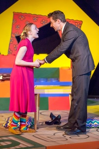 """Kimberly Byrnes as Lucy is ecstatic with the good news from Todd Schaefer in the title role in """"Mr. Marmalade"""" at West End Players Guild. Photo: John Lamb"""